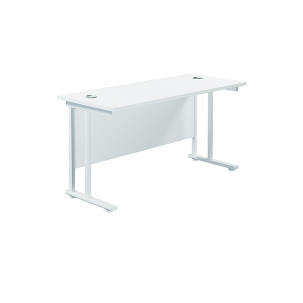 Jemini Cantilever Rectangular Desk 1400x600mm White/White