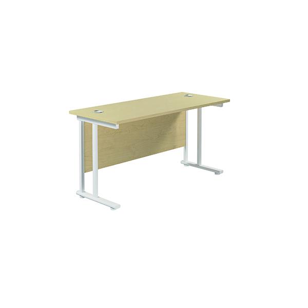 Jemini Cantilever Rectangular Desk 1400x600mm Maple/White