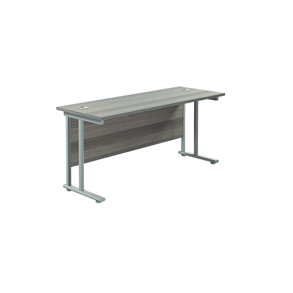 Jemini Cantilever Rectangular Desk 1600x600mm Grey Oak/Silver