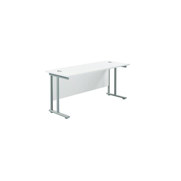 Jemini Cantilever Rectangular Desk 1600x600mm White/Silver