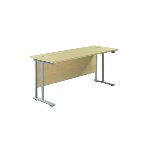 Jemini Cantilever Rectangular Desk 1600x600mm Maple/Silver