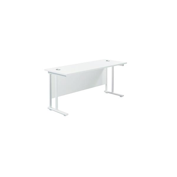 Jemini Cantilever Rectangular Desk 1600x600mm White/White