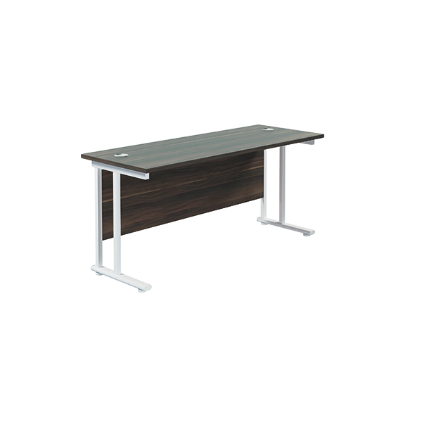 Jemini Cantilever Rectangular Desk 1600x600 Dark Walnut/White