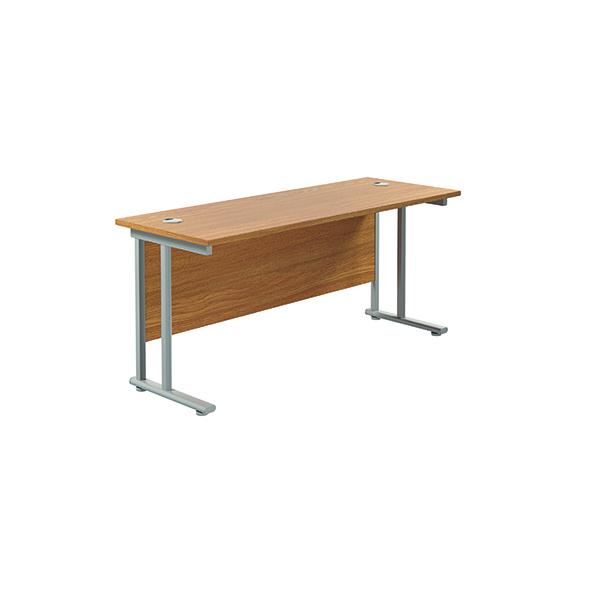 Jemini Cantilever Rectangular Desk 1800x600mm Nova Oak/Silver