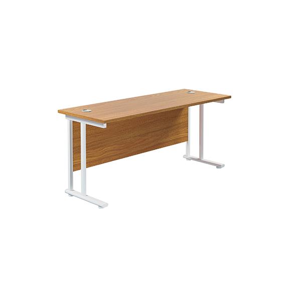 Jemini Cantilever Rectangular Desk 1800x600mm Nova Oak/White