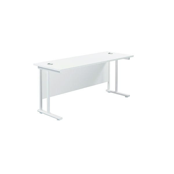 Jemini Cantilever Rectangular Desk 1800x600mm White/White
