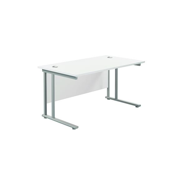 Jemini Cantilever Rectangular Desk 1200x800mm White/Silver