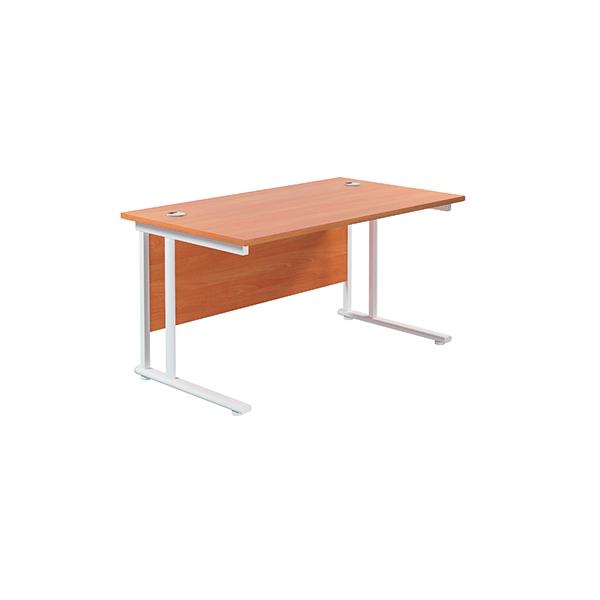 Jemini Cantilever Rectangular Desk 1200x800mm Beech/White
