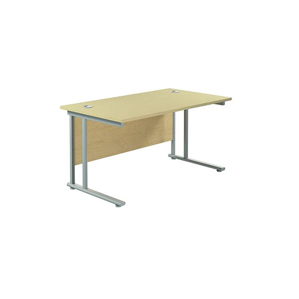 Jemini Cantilever Rectangular Desk 1400x800mm Maple/Silver