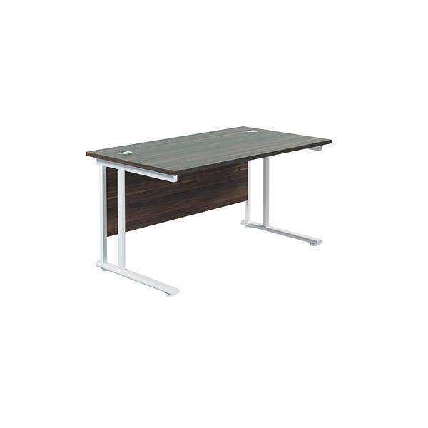 Jemini Cantilever Rectangular Desk 1400x800 Dark Walnut/White