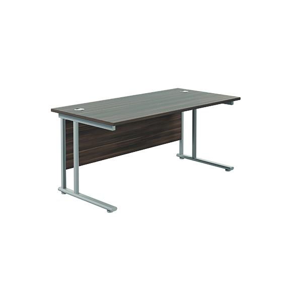 Jemini Cantilever Rectangular Desk 1600x800 DarkWalnut/Silver