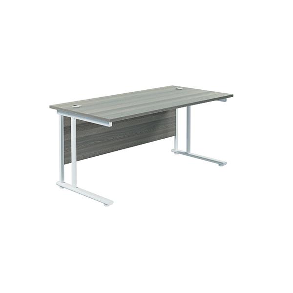 Jemini Cantilever Rectangular Desk 1600x800mm Grey Oak/White