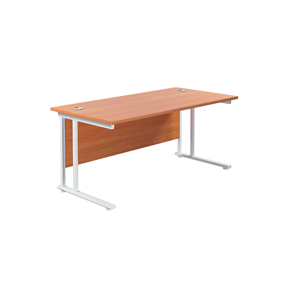 Jemini Cantilever Rectangular Desk 1800x800mm Beech/White