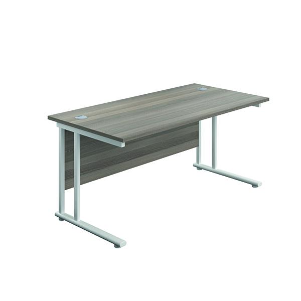Jemini Cantilever Rectangular Desk 1800x800mm Grey Oak/White