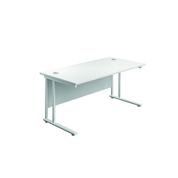Jemini Cantilever Rectangular Desk 1800x800mm White/White