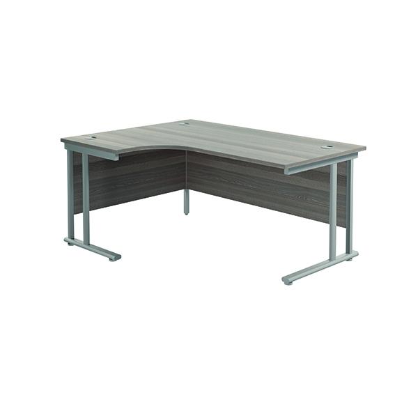 Jemini Cantilever Left Hand Radial Desk 1600 Grey Oak/Silver