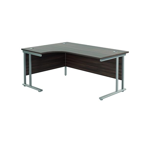 Jemini Cantilever Left Hand Radial Desk 1600 D/Walnut/Silver