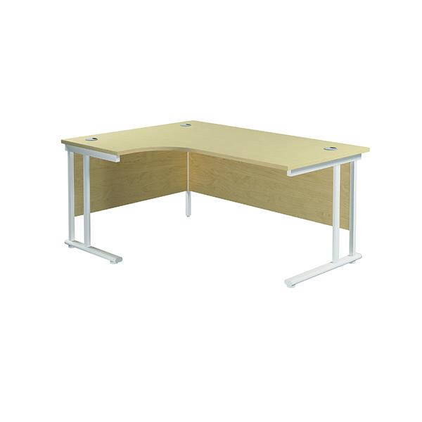 Jemini Cantilever Left Hand Radial Desk 1600mm Maple/White