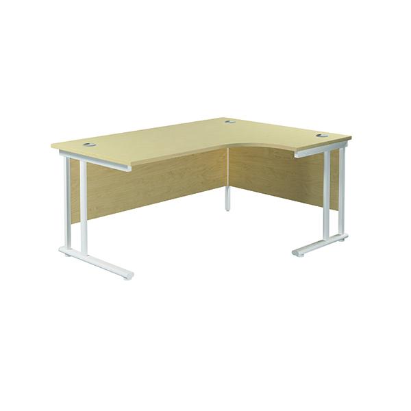Jemini Cantilever Right Hand Radial Desk 1600mm Maple/White