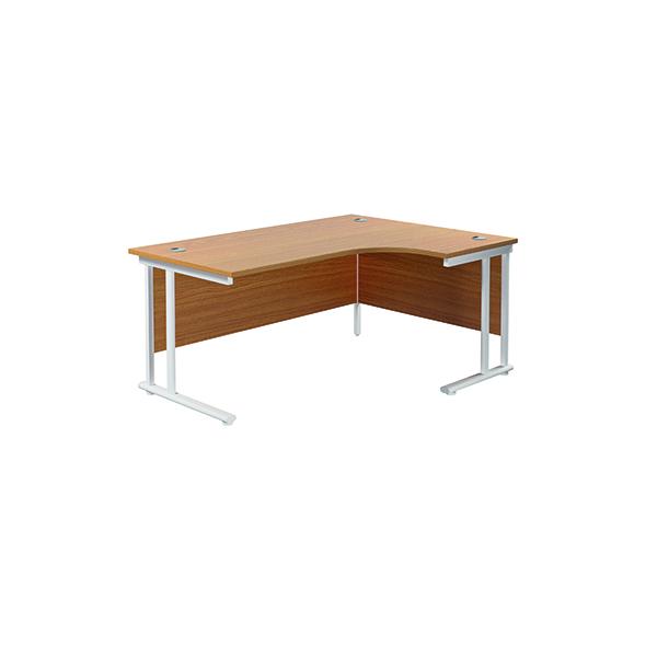 Jemini Cantilever Right Hand Radial Desk 1800 Nova Oak/White