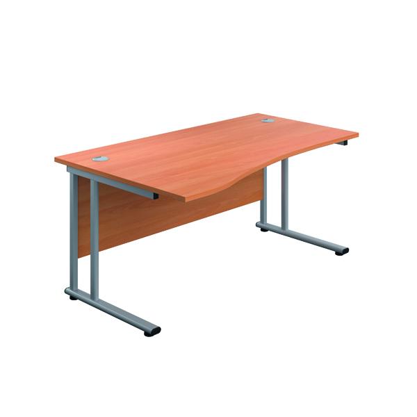 Jemini Cantilever Left Hand Wave Desk 1600mm Beech/Silver
