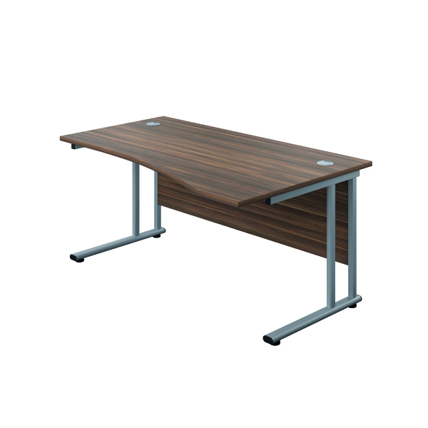 Jemini Cantilever Right Hand WaveDesk 1600mm D/Walnut/Silver