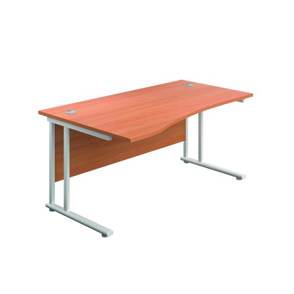 Jemini Cantilever Left Hand Wave Desk 1600mm Beech/White