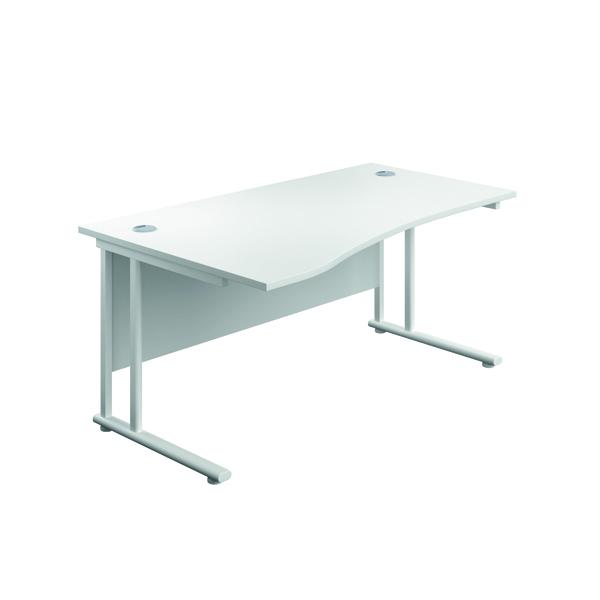 Jemini Cantilever Left Hand Wave Desk 1600mm White/White