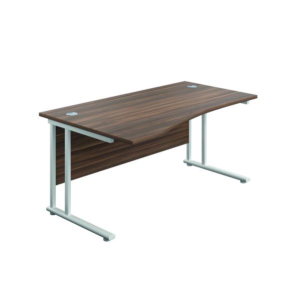 Jemini Cantilever Left Hand Wave Desk 1600mm D/Walnut/White
