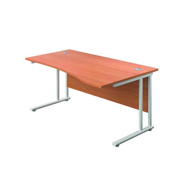 Jemini Cantilever Right Hand Wave Desk 1600mm Beech/White
