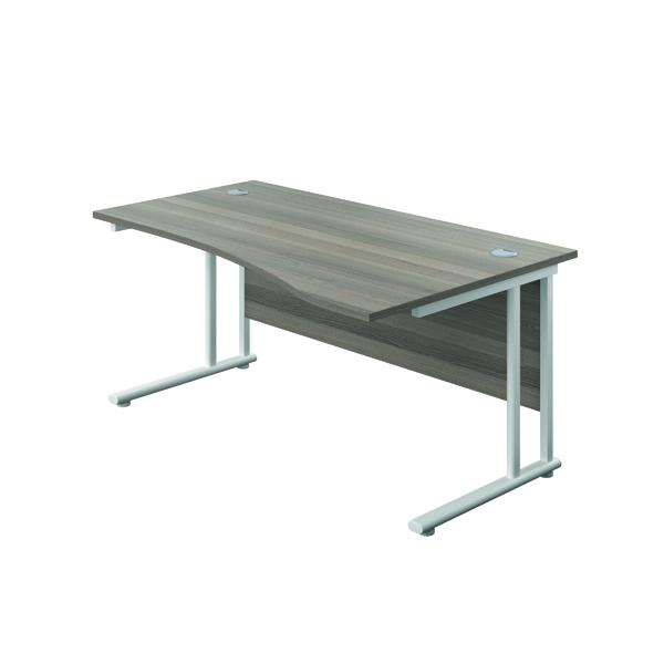 Jemini Cantilever Right Hand Wave Desk 1600mm Grey Oak/White