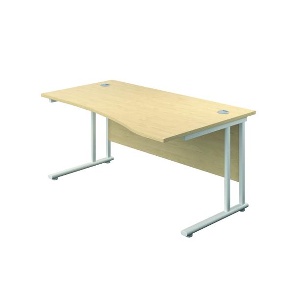 Jemini Cantilever Right Hand Wave Desk 1600mm Maple/White