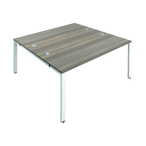 Jemini 2 Person Bench Desk 1200x800mm Grey Oak/White