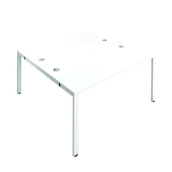 Jemini 2 Person Bench Desk 1200x800mm White/White