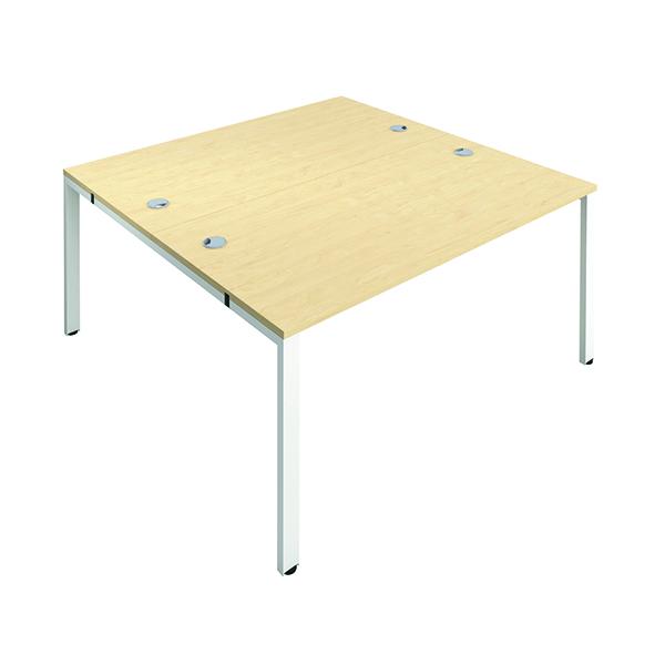 Jemini 2 Person Bench Desk 1200x800mm Maple/White