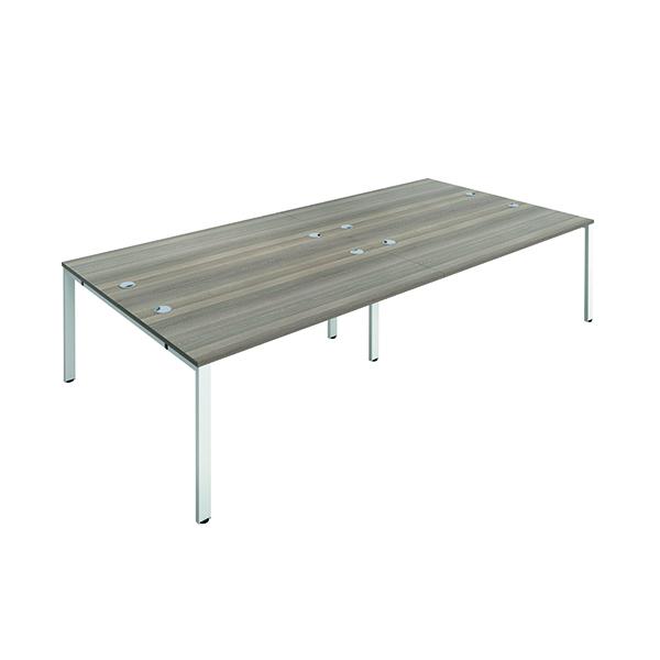 Jemini 4 Person Bench Desk 1200x800mm Grey Oak/White