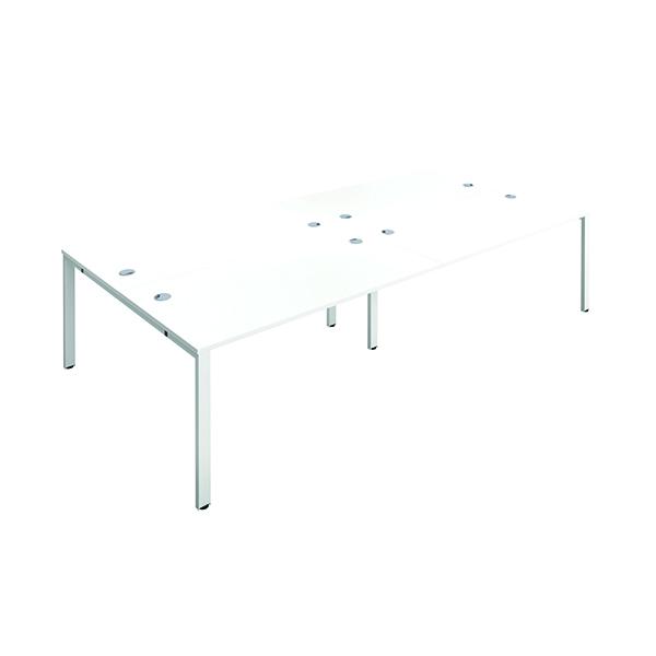 Jemini 4 Person Bench Desk 1200x800mm White/White