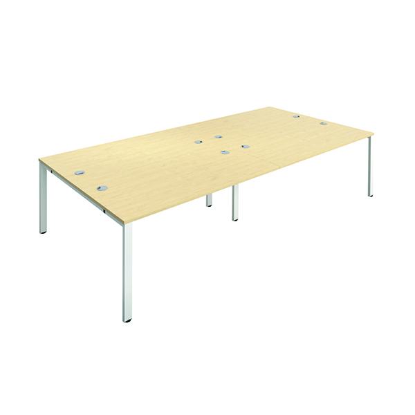 Jemini 4 Person Bench Desk 1200x800mm Maple/White