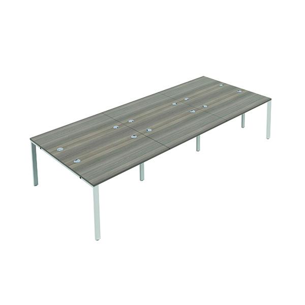 Jemini 6 Person Bench Desk 1200x800mm Grey Oak/White