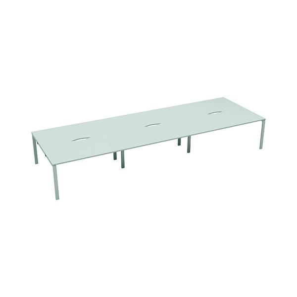 Jemini 6 Person Bench Desk 1200x800mm White/White