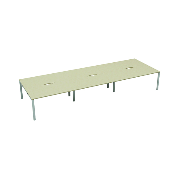 Jemini 6 Person Bench Desk 1200x800mm Maple/White