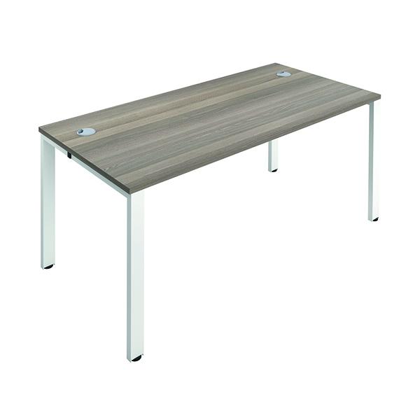 Jemini 1 Person Bench Desk 1400x800mm Grey Oak/White