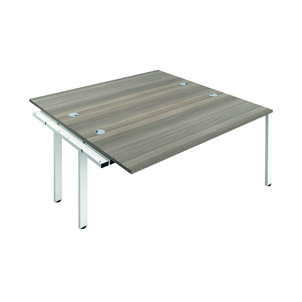 Jemini 2 Person Extension Bench 1400x800mm Grey Oak/White