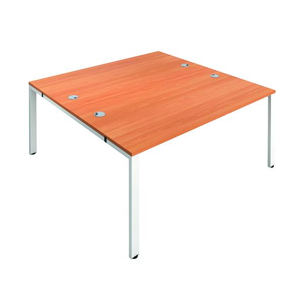 Jemini 2 Person Bench Desk 1400x800mm Beech/White