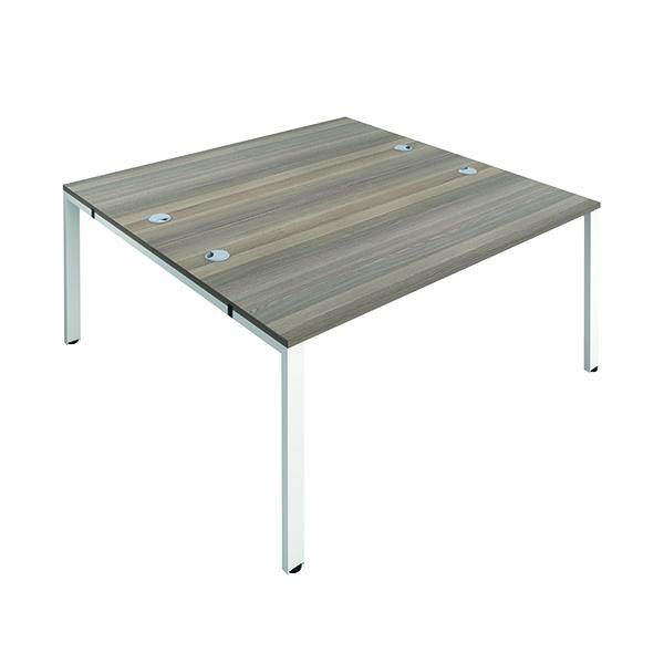 Jemini 2 Person Bench Desk 1400x800mm Grey Oak/White