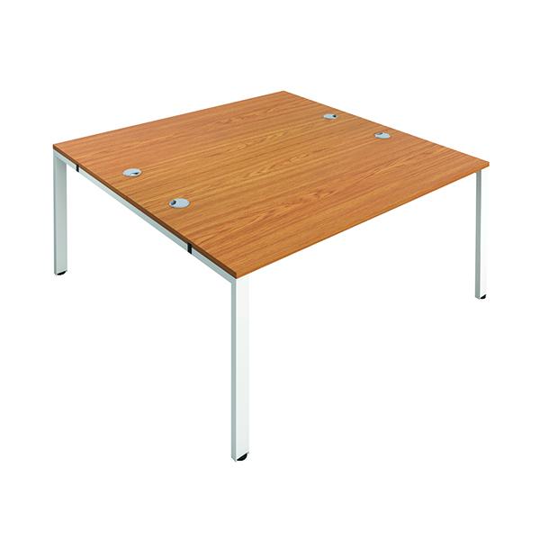 Jemini 2 Person Bench Desk 1400x800mm Nova Oak/White