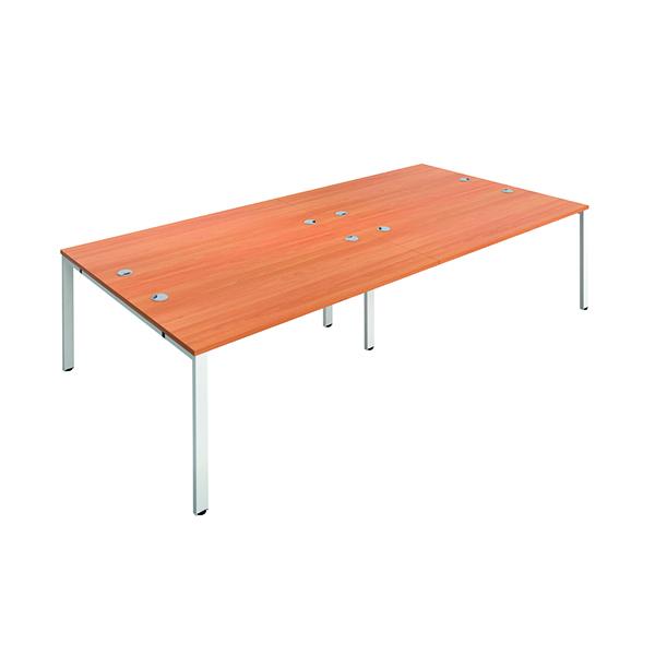Jemini 4 Person Bench Desk 1400x800mm Beech/White