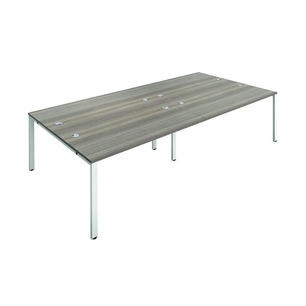 Jemini 4 Person Bench Desk 1400x800mm Grey Oak/White