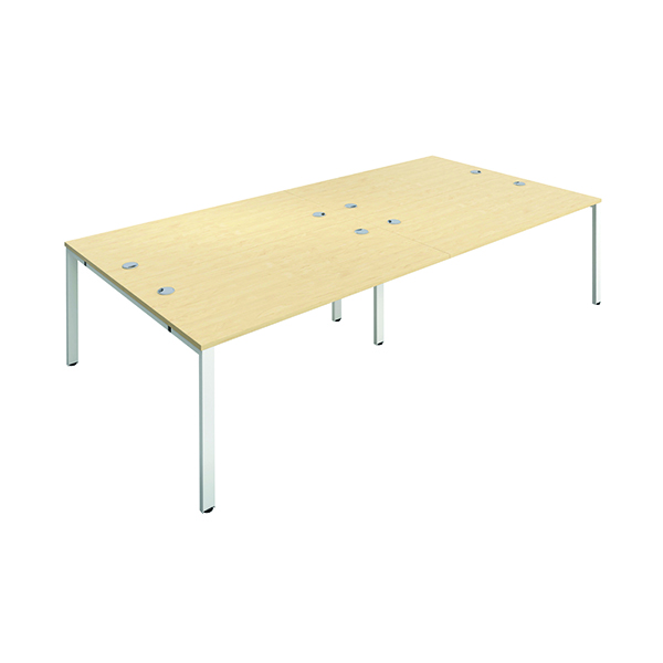 Jemini 4 Person Bench Desk 1400x800mm Maple/White