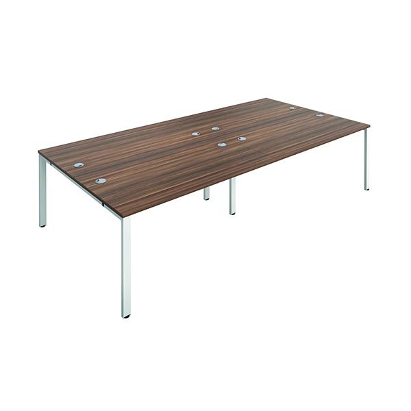 Jemini 4 Person Bench Desk 1400x800mm Dark Walnut/White